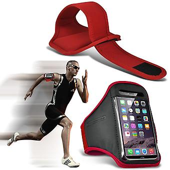 ONX3 (Red) Adjustable Sweatproof/Water Resistent Sports Fitness Running Cycling Gym Armband Phone Case For Blu Dash L3