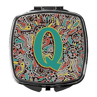 Letra Q alfabeto tribales Retro espejo compacto inicial