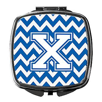 Carolines Treasures  CJ1045-XSCM Letter X Chevron Blue and White Compact Mirror