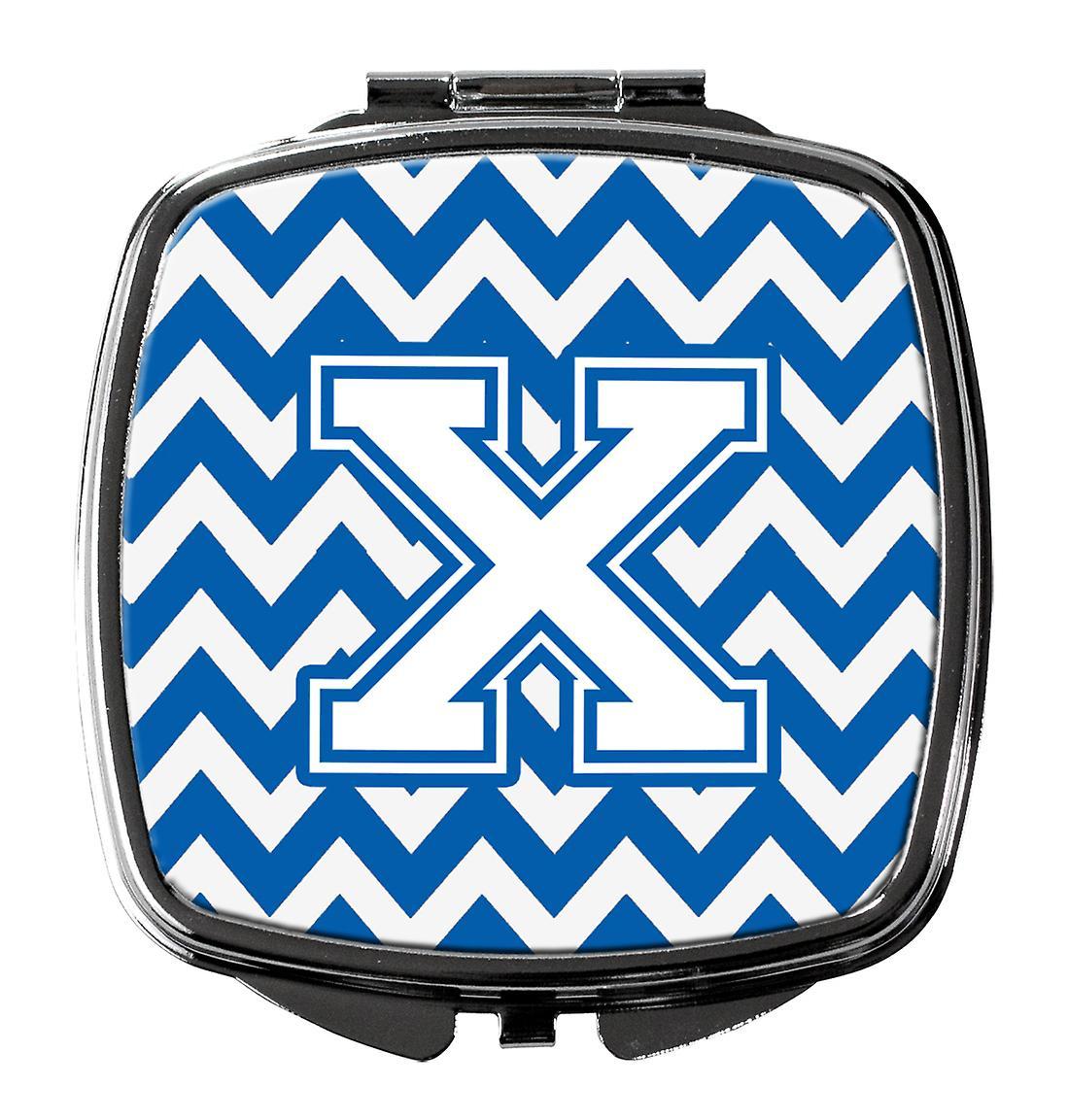 Carolines schatten CJ1045-XSCM Letter X Chevron blauw en wit Compact spiegel