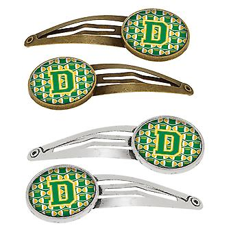 Letter D Football Green and Gold Set of 4 Barrettes Hair Clips