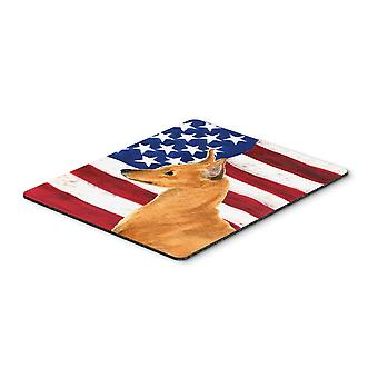 Carolines Treasures  SS4222MP USA American Flag with Min Pin Mouse Pad, Hot Pad