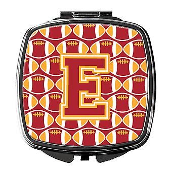 Letter E Football Cardinal and Gold Compact Mirror