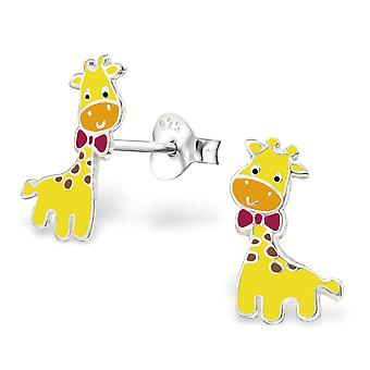 Giraffe - 925 Sterling Silver + Epoxy Colour Colourful Ear Studs
