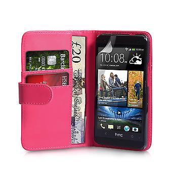HTC один случай бумажник кожаный эффект - горячий розовый
