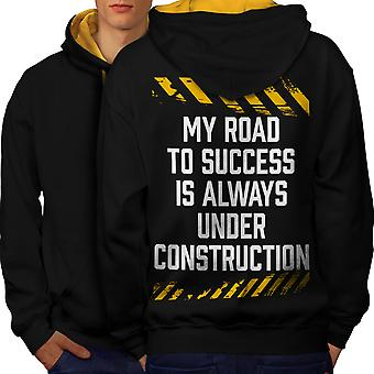 Road Success Joke Funny Men Black (Gold Hood)Contrast Hoodie Back | Wellcoda