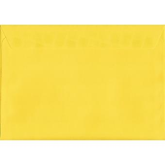 Banana Yellow Peel/Seal C4/A4 Coloured Yellow Envelopes. 120gsm Luxury FSC Certified Paper. 229mm x 324mm. Wallet Style Envelope.