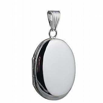 Silver 27x20mm plain oval Locket