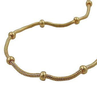 Snake and ball chain gold plated 19cm bracelet