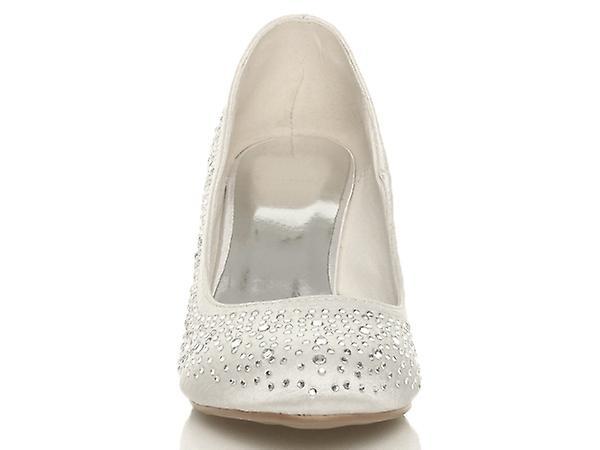 Ajvani womens mid low heel wedding prom shoes bridal party Diamante court shoes prom pumps 9158db