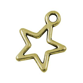 Packet 30 x Steampunk Antique Bronze Tibetan 15mm Star Charm/Pendant ZX08160