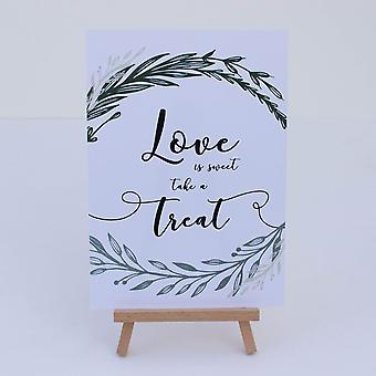 White Botanical Love is Sweet Card Sign and Easel Wedding Sweet Bar