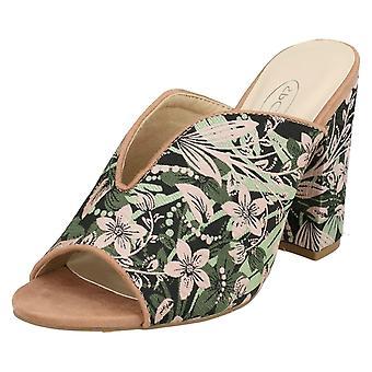 Ladies Spot On High Chunky Heel Mules F10826 - Dusty Pink/Mint Fabric - UK Size 6 - EU Size 39 - US Size 8