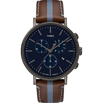 Timex mens watch Fairfield chronograph 41 mm leather TW2R37700