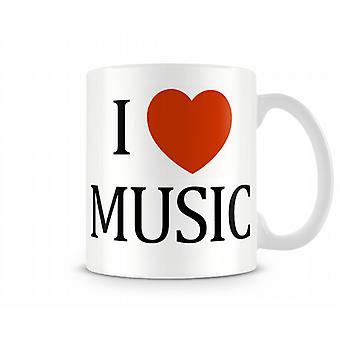 Tasse de musique imprimée J'aime