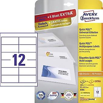 Zweckform Avery etiquetas 4781 97 x 42,3 mm papel Whi