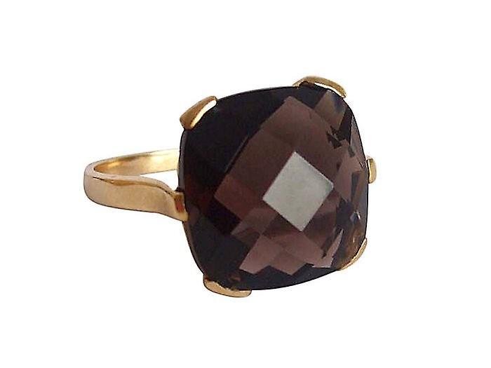 Gemshine - féminines - anneau - 9 k (375) or - quartz fumé - marron - 15 mm