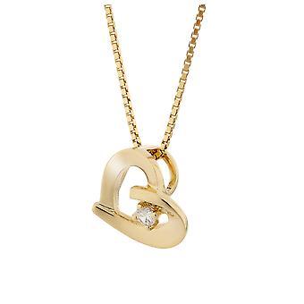 Orphelia plata 925 colgante con cadena color oro corazón con 1 circonio