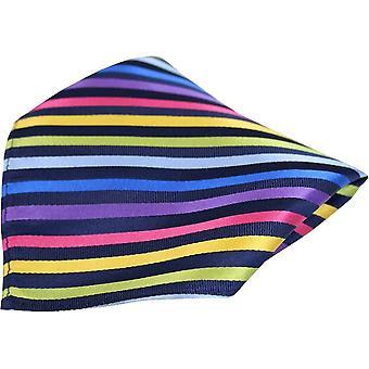 Posh og Dandy blå stribet luksus silke Pocket Square - sort/Multi-colour