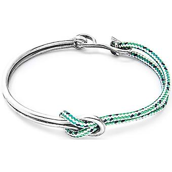 Anchor and Crew Tay Silver and Rope Bangle - Green Dash