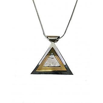 Cavendish francés plata colgante pirámide de oro con una cadena de 16-18