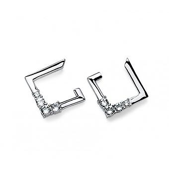 Oliver Weber Post Earring Squary Rhodium Crystal