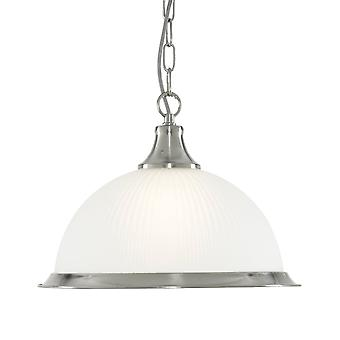 Searchlight American Diner Satin Silver Pendant With Acid Ribbed Glass Shade