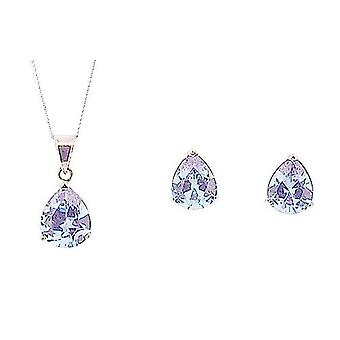 TOC Sterling Silver Lilac CZ Tear Drop Earring & Pendant Necklace 18