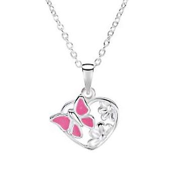 Jo For Girls Sterling Silver Pink Butterfly Heart Pendant Necklace 14