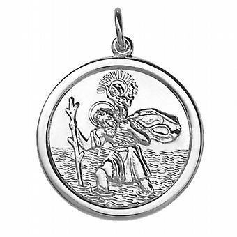 Argent 26mm rond solide St Christopher Pendant