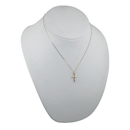 9ct Gold 20x13mm fancy twist Cross with a curb Chain 18 inches