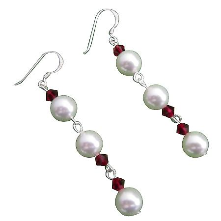 Swarovski White Pearls Siam Red Crystals Sterling Silver Hook Earrings