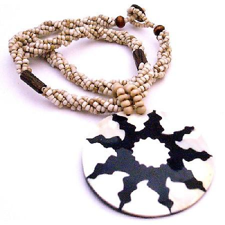 Necklace Black Beaded Self Designed Shell Pendant Shell Jewelry