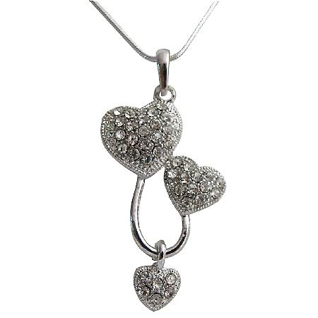 Three Heart Pendant Necklace Dazzling Sparkling Priceless Gift