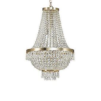 Idealne Lux - Cezar złocone dziewięć Light Świecznik z kryształkami IDL114736