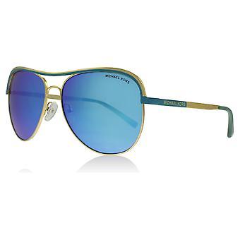 Michael Kors MK1012 110625 Gold Türkis Vivianna ich Pilot Sonnenbrillen Objektiv Kategorie 3 Objektiv gespiegelt Größe 58mm