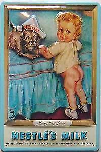 Nestles Milk (baby and dog) embossed steel sign