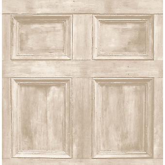 Fine Decor Wood Panel Cream Realistic Door Wooden Wallpaper