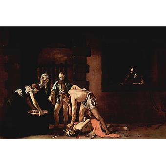The Beheanding of tst, john the baptist, Caravaggio, 40x60cm with tray