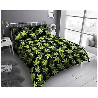 Leaf Cannabis Unkraut Blätter moderne Quilt Bettbezug Bettwäsche-Set mit Kissenbezug
