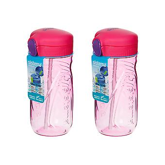 Sistema Set of 2 Quick Flip Bottles 520ml, Pink