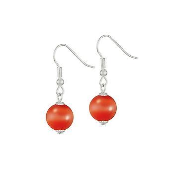 Eternal Collection Melody Fiery Orange Cats Eye Silver Tone Drop Pierced Earrings