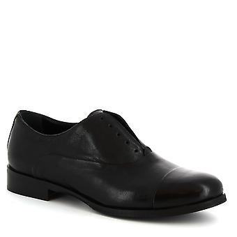 Chaussures Oxford à la main de Leonardo Chaussures femmes sans lacets en cuir de veau noir