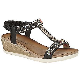 Ladies Womens Sandals Jewelled Elasticated Halter Back Wedge Mid Heel Shoes