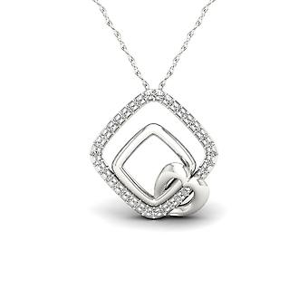 IGI Certified S925 Silver 0.1Ct TW Diamond Loops and Heart Fashion Necklace