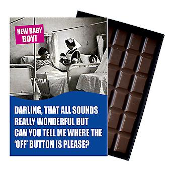 Funny New Baby Boy Birth Gift For Newborn Mum Boxed Chocolate Greeting Card Present CDL145