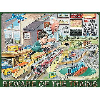 Beware Of The Trains (man and boy) large steel sign 400mm x 300mm (og)