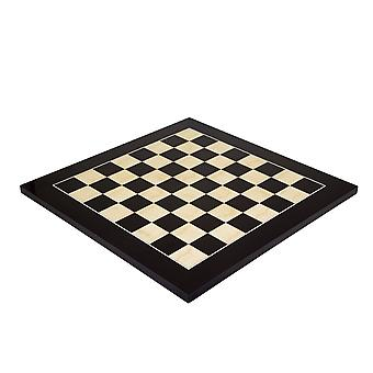 17.75 Inch Lacquered Black Anegre Deluxe Chess Board