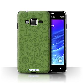 STUFF4 Case/Cover for Samsung Z1/Z130/Green Flower/Floral Swirl Pattern