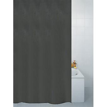 Black Textile Stripe Polyester Shower Curtain 180 x 180cm